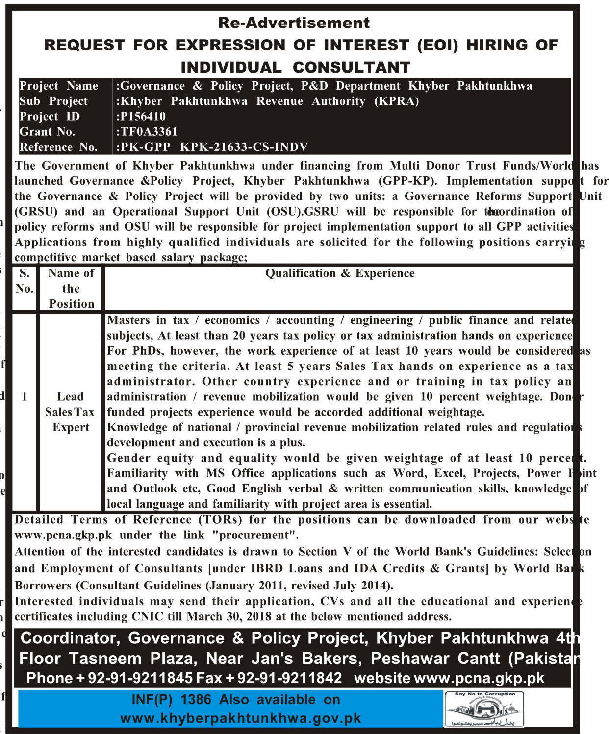 Governance and Policy Project KPK  Jobs 2018
