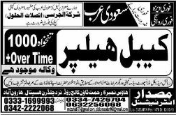 Cable Helpers Job in Saudi Arabia