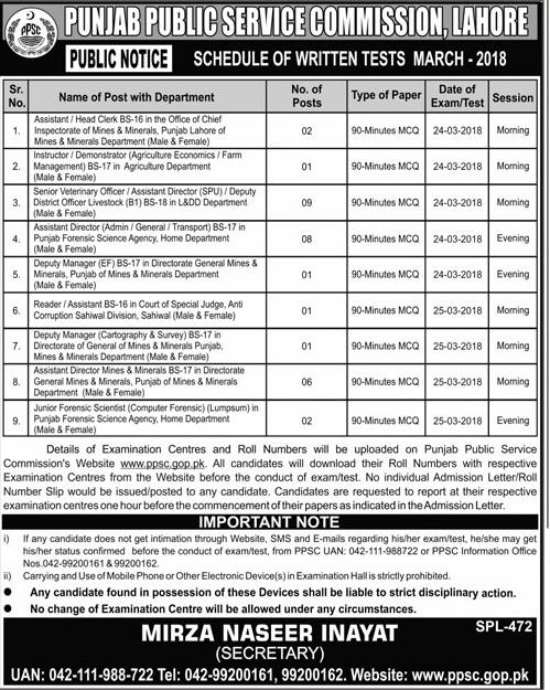 Punjab Public Service Commission PPSC Job 2018