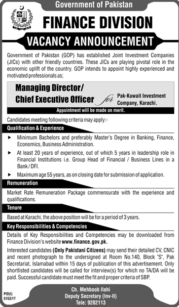 Finance Division Government of Pakistan GOP   Jobs Open