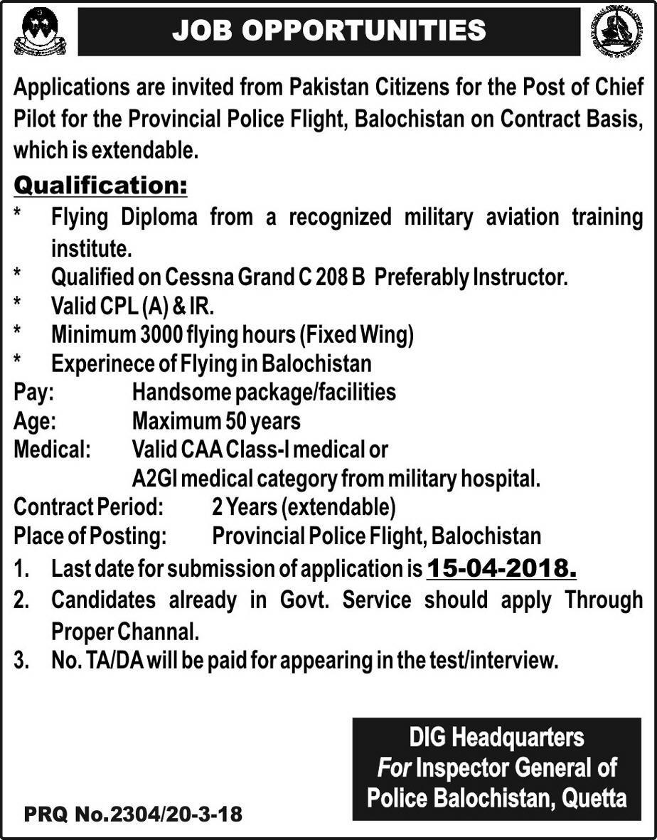 Inspector General Police Balochistan Chief Pilot Jobs