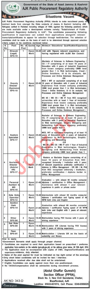 AJK Public Procurement Regulatory Authority PPRA Jobs 2018
