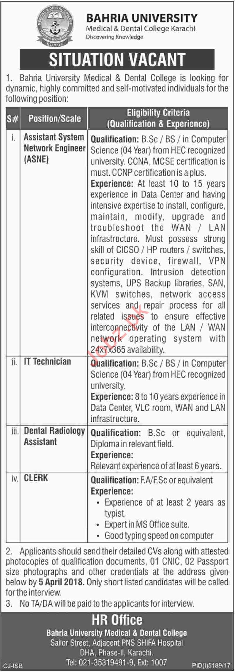 Bahria University Jobs ASNE, IT Technician, Assistant, Clerk