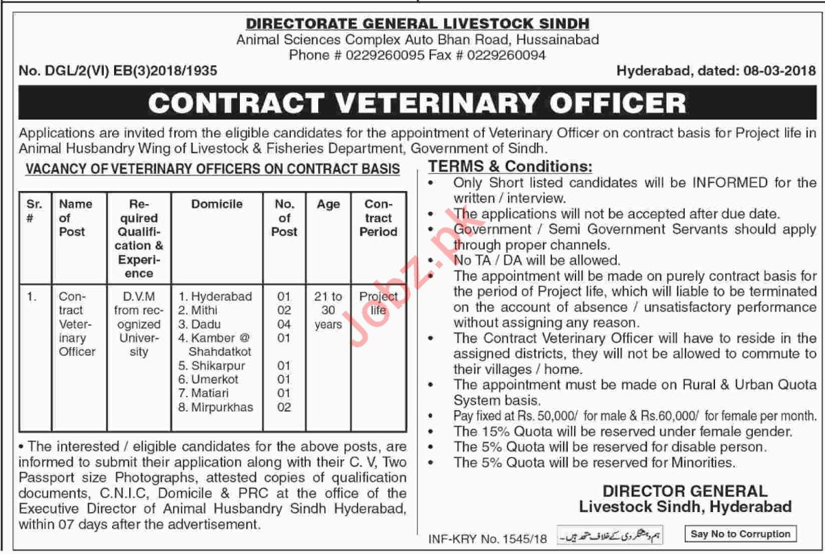 Directorate General Livestock Sindh Jobs 2018