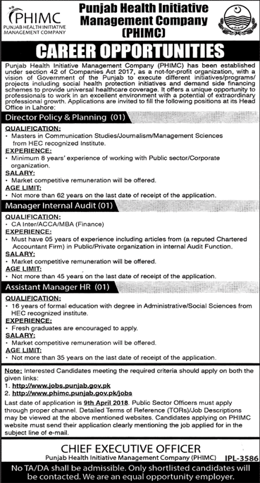 Punjab Health Initiative Management Company PHIMC Jobs