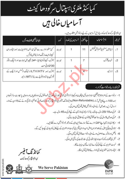 Combined Military Hospital CMH Sargodha Cantt Jobs 2018