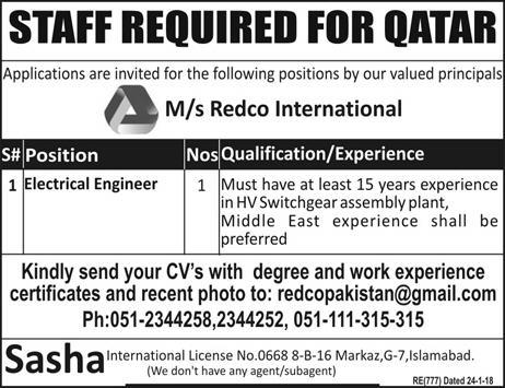 Electrical Engineers Job in Qatar