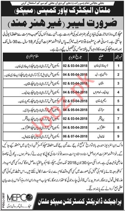 Multan Electric Power Company MEPCO Jobs 2018 Labors