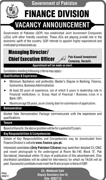 Finance Division Government of Pakistan GOP Jobs 2018