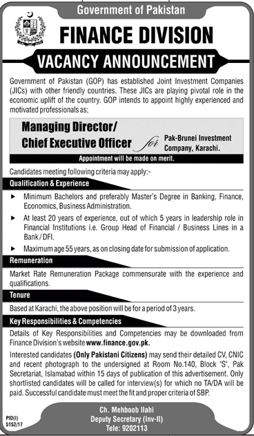 Managing Director / Chief Executive Jobs in Finance Division