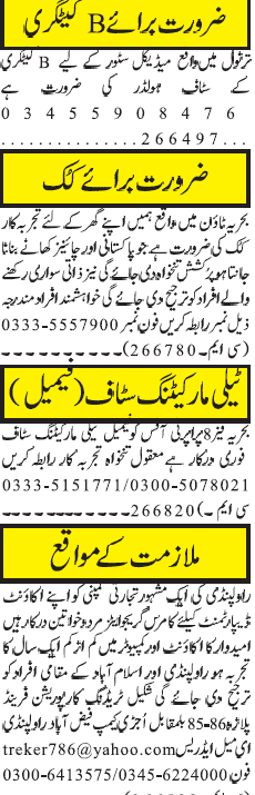 Cooks, Telemarketing Staff, Accountant Job Opportunity