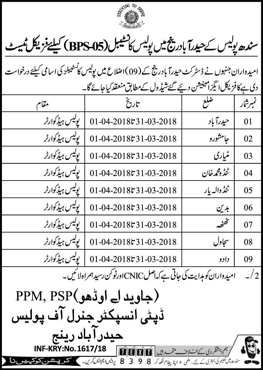 Recruitment of Police Constables in Sindh Police Hyderabad 2019 Job