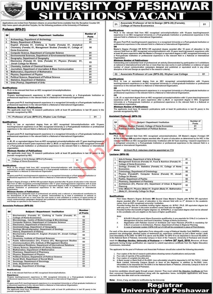 University of Peshawar UOP Jobs 2018 for Professors