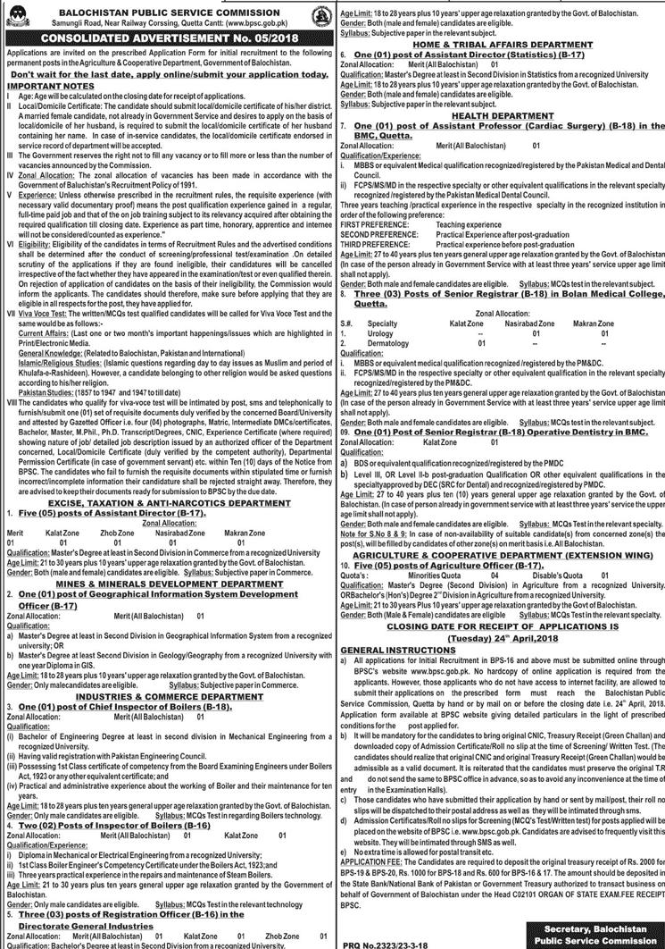BPSC Balochistan Public Service Commission Job 2018