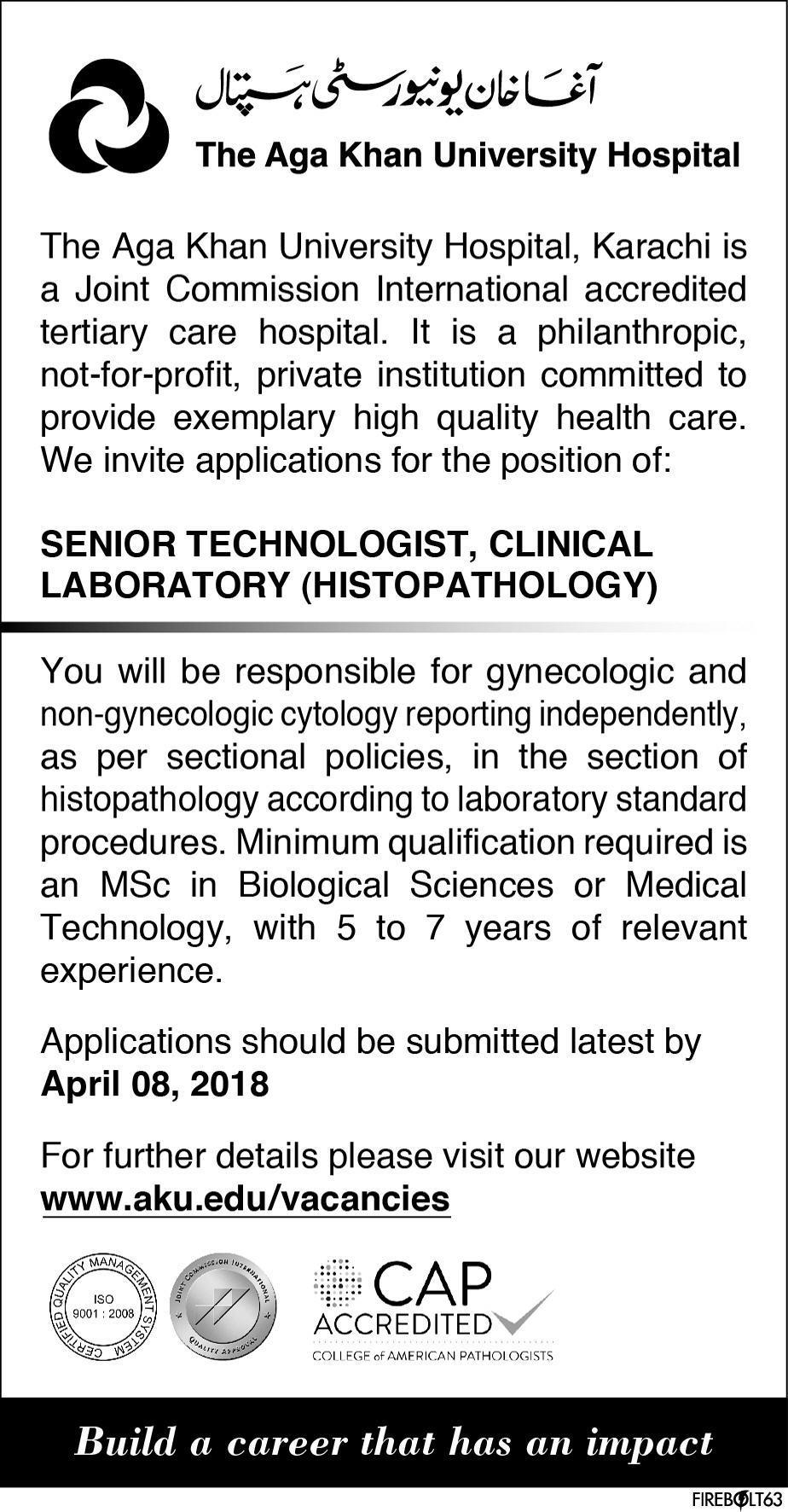 The Aga Khan University Hospital AKUH Jobs 2019 Job Advertisement