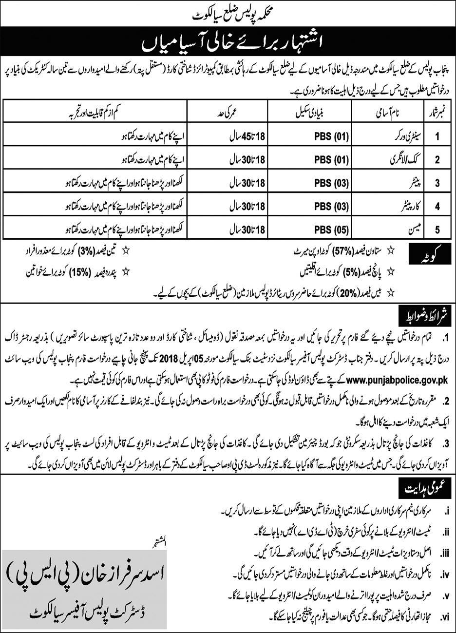 Punjab Police District Police Sialkot Recruitment