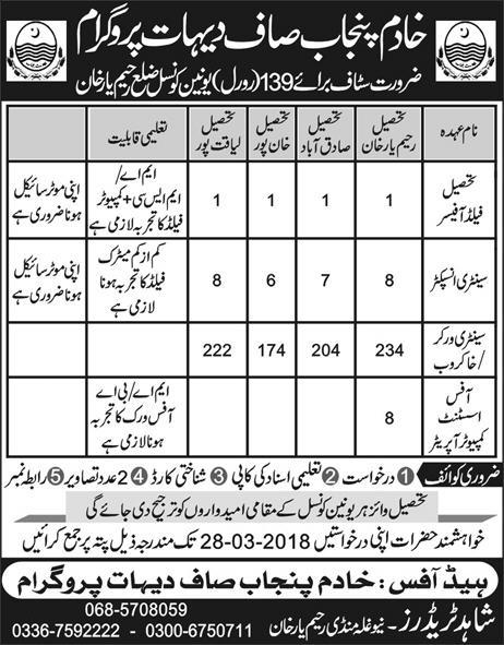 Khadim Punjab Saaf Dehat Program Jobs