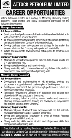 Attock Peteroleum Limited APL Job