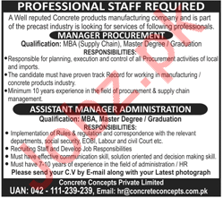 Manager Procurement & Asst Manager Administration Jobs 2018
