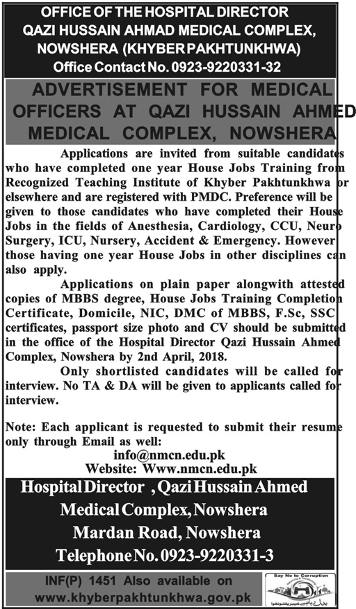 Qazi Hussain Ahmed Medical Complex MTI Jobs 2018 Jobs Pakistan