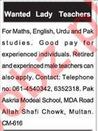 Lady Teachers Jobs in Multan 2018