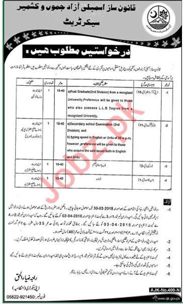 AJK Legislative Assembly Secretariat Jobs 2018