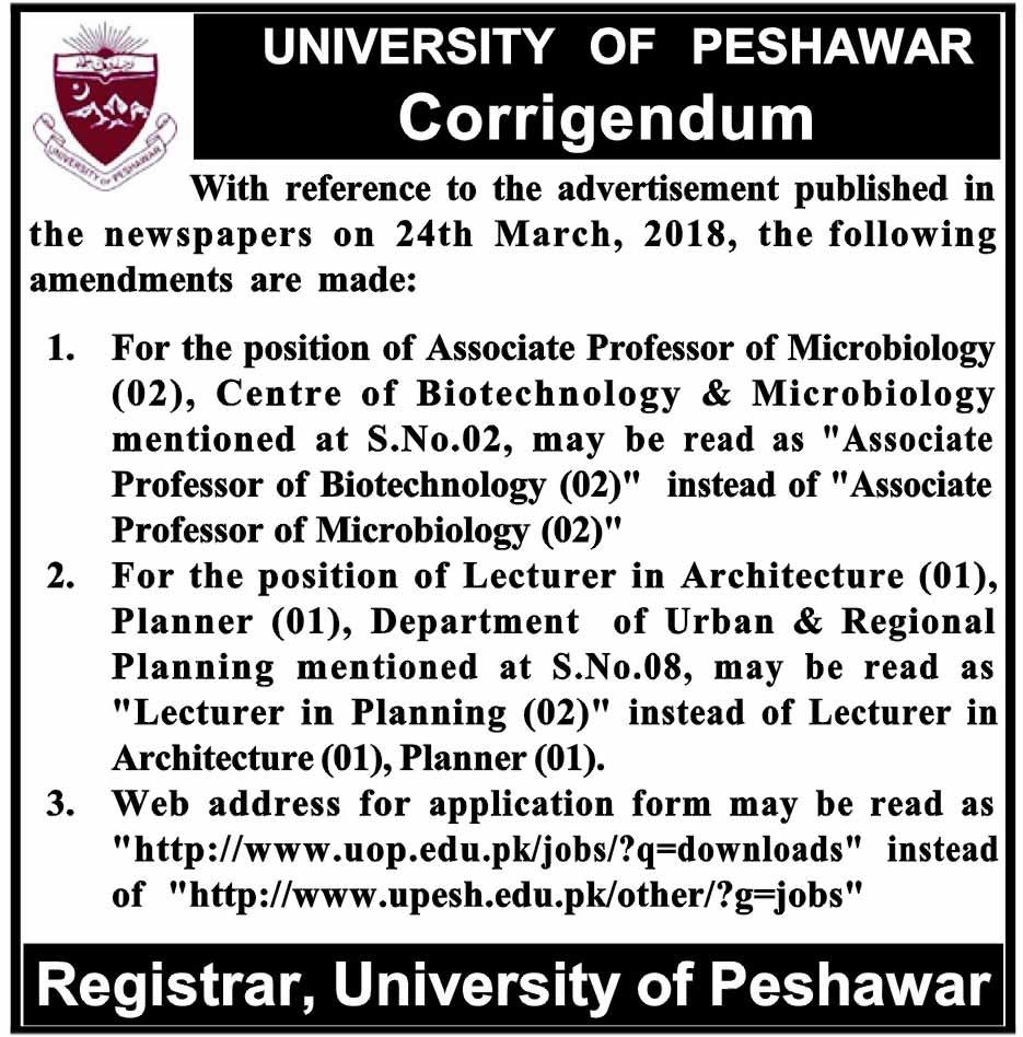University of Peshawar Teaching Jobs 2018
