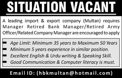 Manager Job in A Leading Import & Export Company