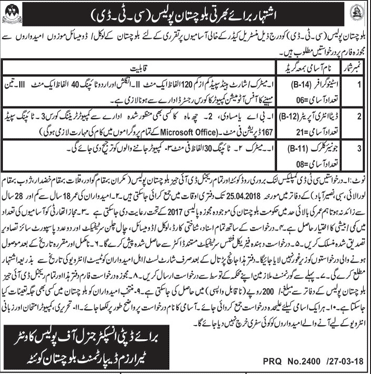 Balochistan Police CTD  Recruitment