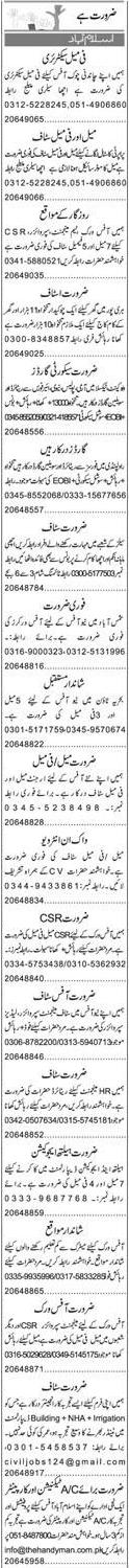 Female Secretary, Management Supervisors, Chawkidars Wanted