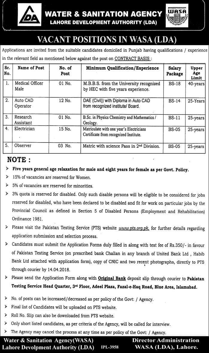 Water and Sanitation Agency WASA LDA Lahore Jobs