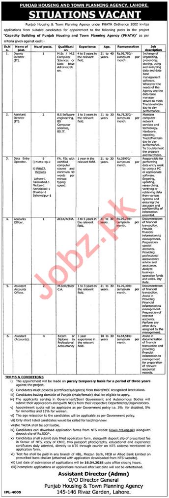 Punjab Housing & Town Planning Agency PHATA Jobs 2018