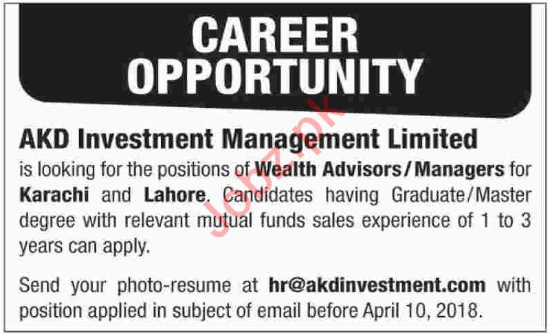 AKD Investment Management Limited Jobs