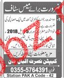 Masalchi Job in Sindh Rajment Pakistan Army