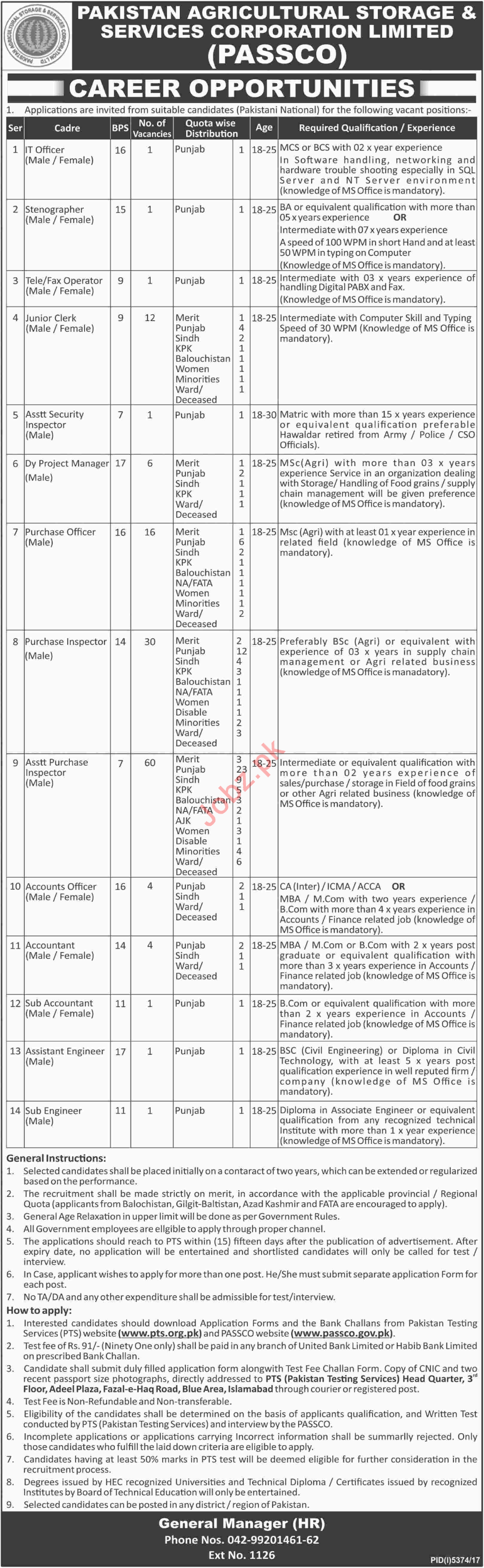 Pakistan Agricultural Storage & Services Corporation Ltd Job