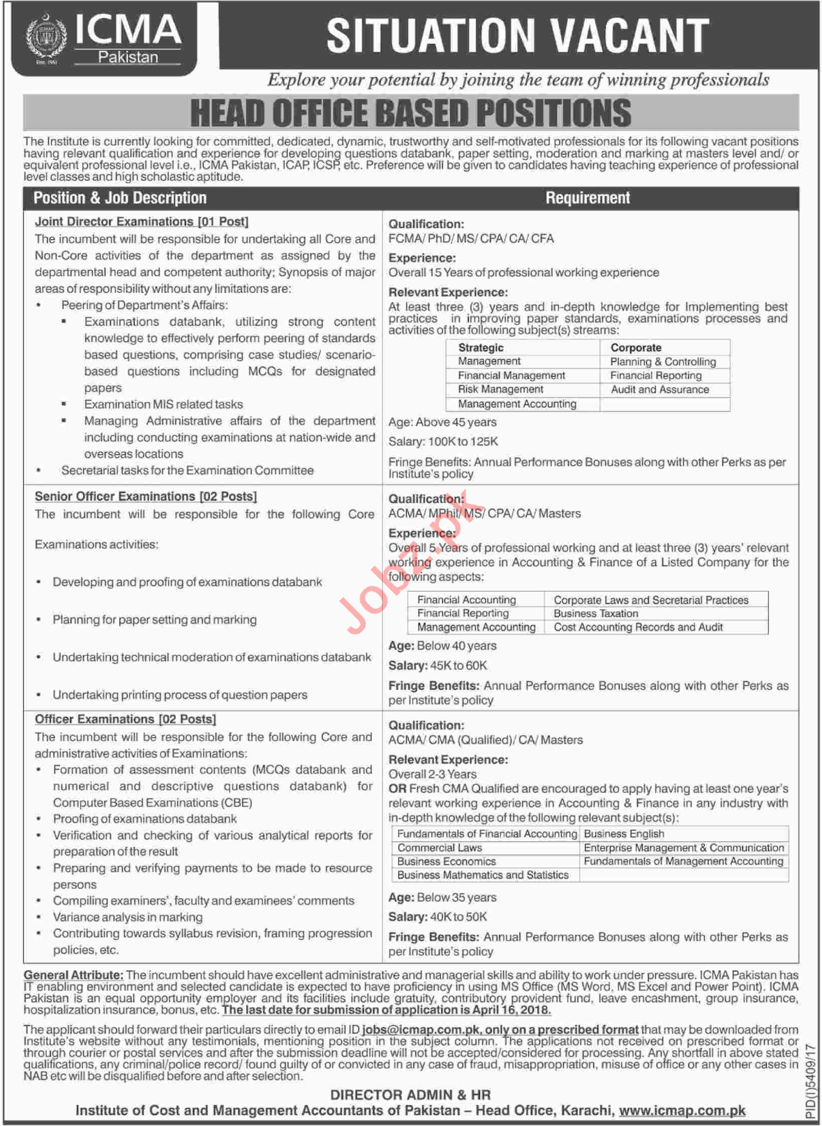Institute of Cost and Management Accountants of Pakistan Job