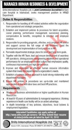 Shifa International Hospitals Ltd SIHL Jobs