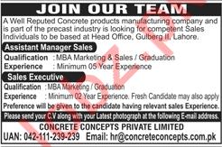 Concrete Concepts Lahore Jobs 2018 Manager Sales & Executive