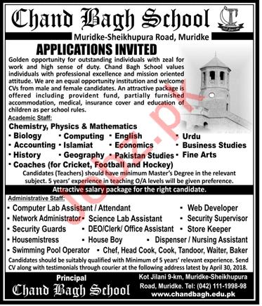 Chand Bagh School Muridke Teaching & Administrative Jobs