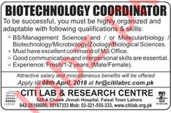 Biotechnology Coordinator Job 2018 in Lahore