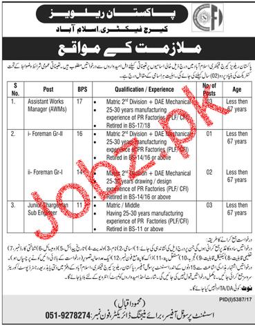 Pakistan Railway PR Carriage Factory Islamabad Jobs Open