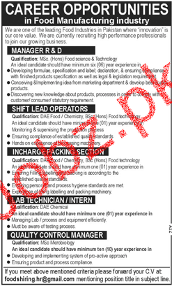 Manager R & D, Shift Lead Operators Job in Food Industry