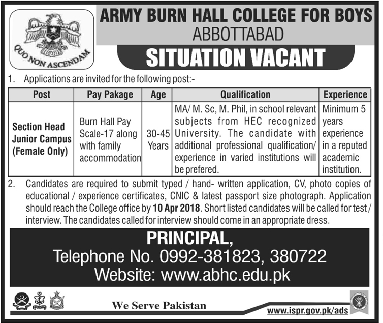 Army Burn Hall College for Boys  APS Section Head Jobs
