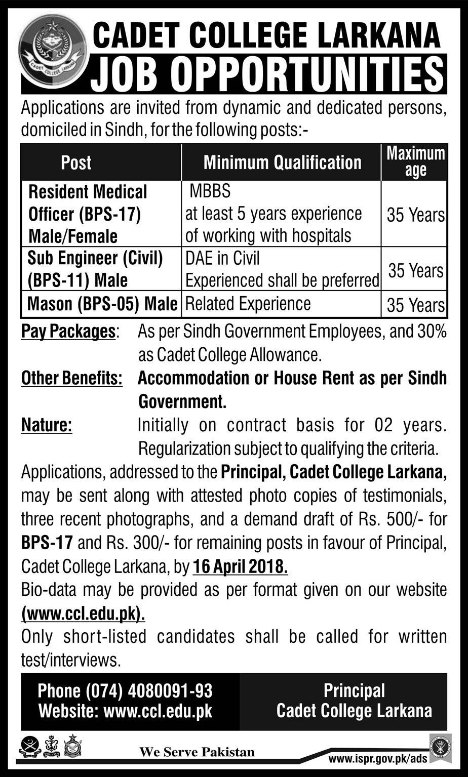 Cadet College Larkana Resident Medical Officers Jobs