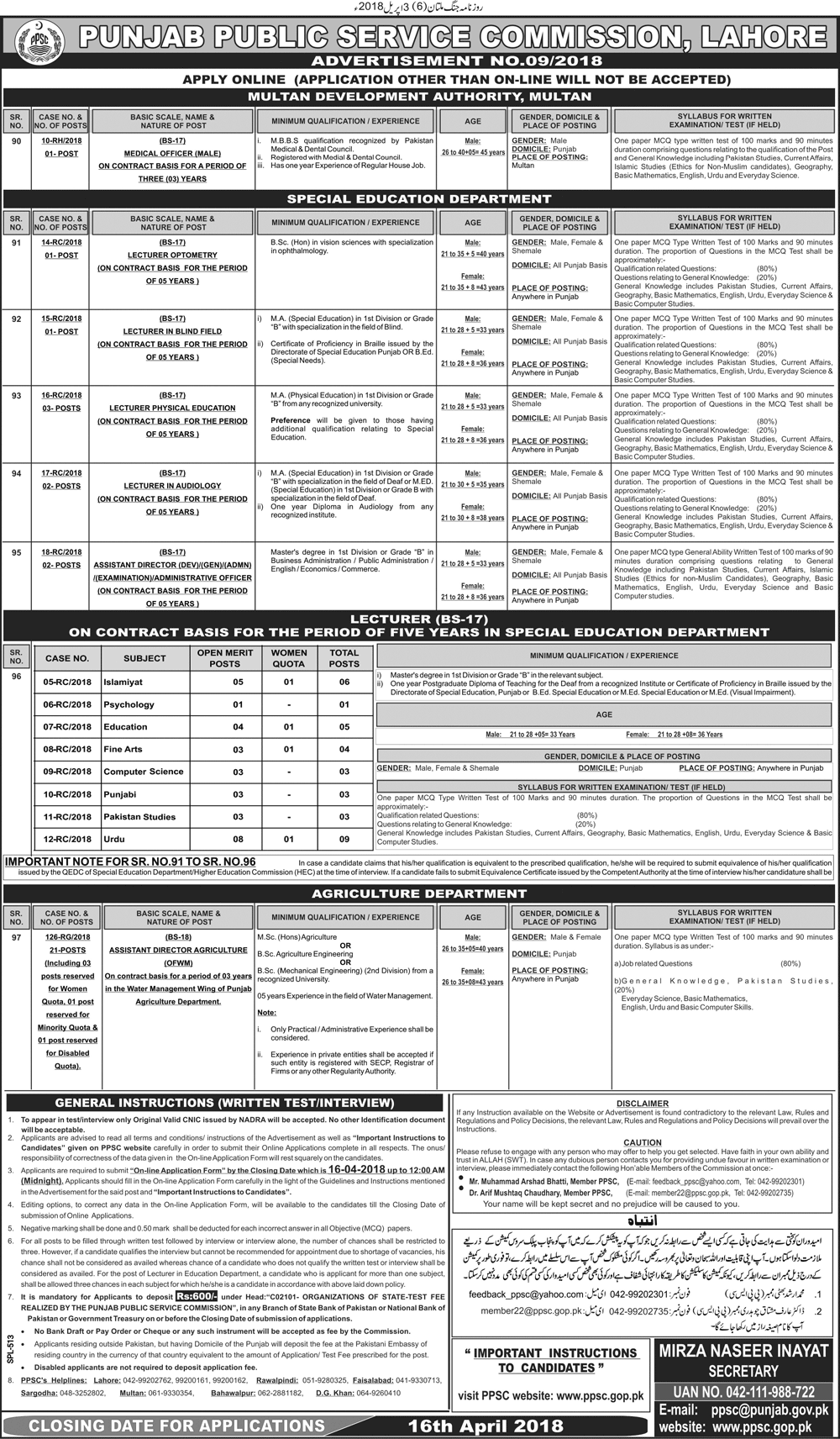 Special Education Department Lecturers Job Through PPSC 2019 Job