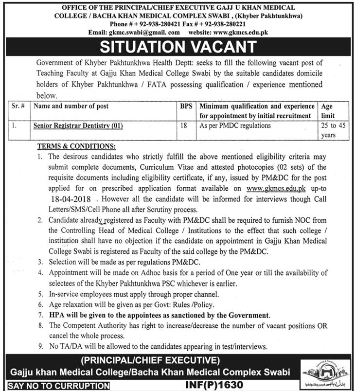 Gajju Khan Medical College / Bacha Khan Medical College  Job