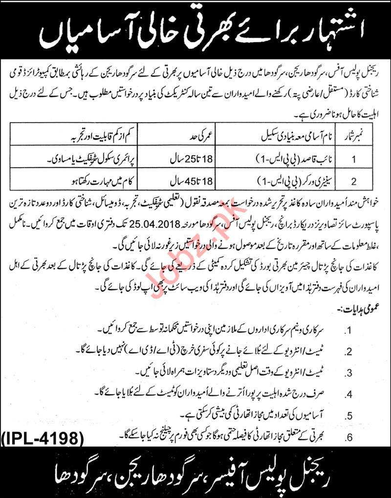 Punjab Police Sargodha Region Jobs 2018