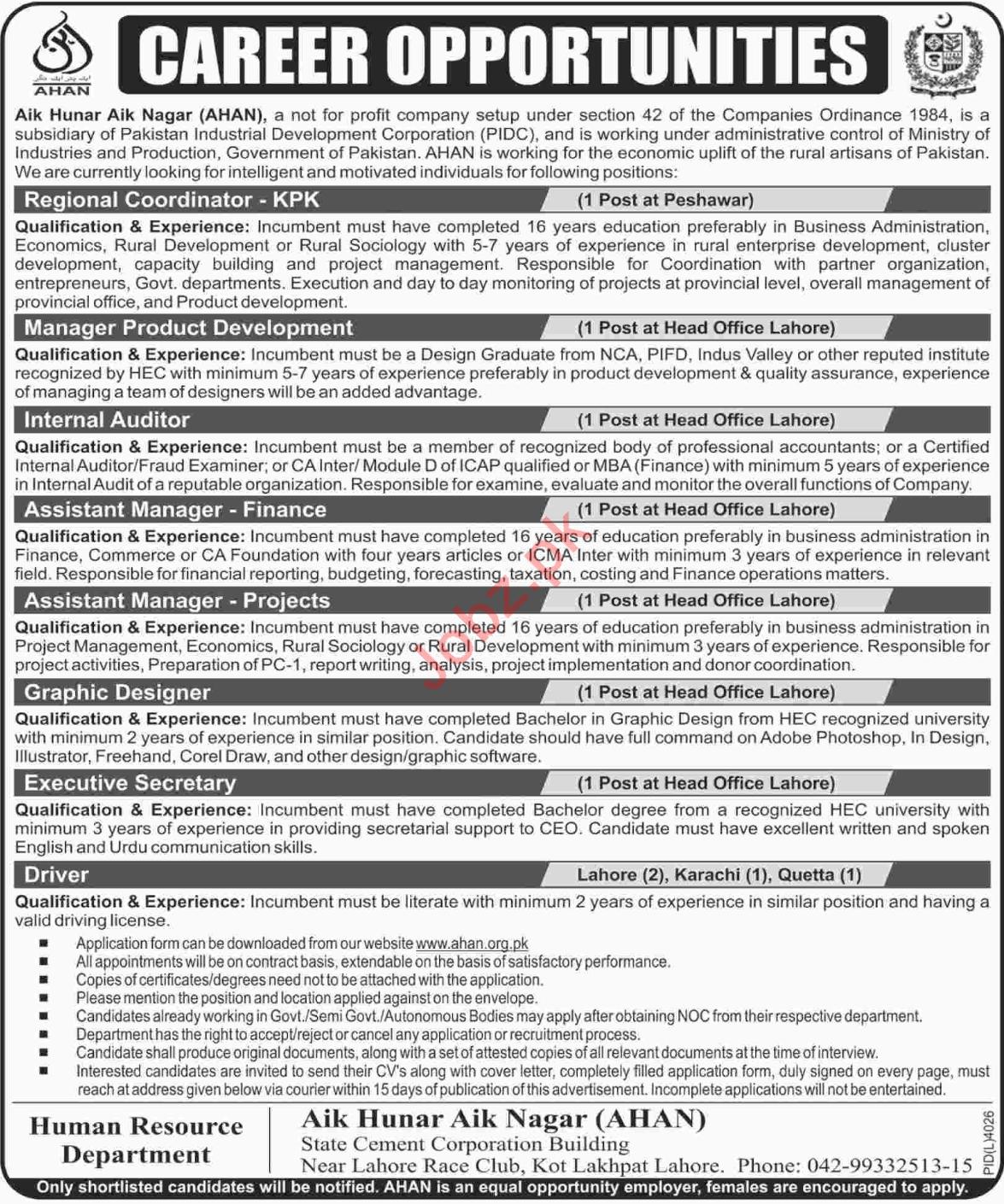 AHAN Aik Hunar Aik Nagar Lahore NGO Jobs 2018