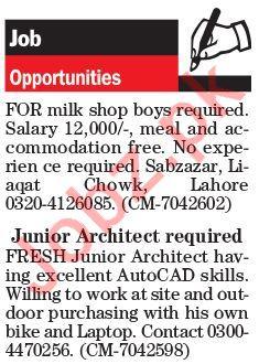 Junior Architect & Salesman Jobs in Lahore 2018