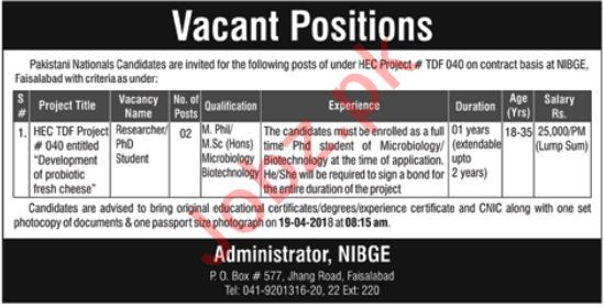 PAEC National Institute for Biotechnology NIBGE Jobs 2018